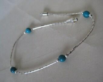 Turquoise Sterling Bracelet Silver Bead Vintage 925