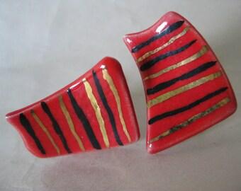 Red Black Gold Earrings Screw Porcelain Vintage Modern Ceramic