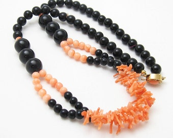 Simulated Branch Coral Necklace Vintage Costume Jewelry N6592