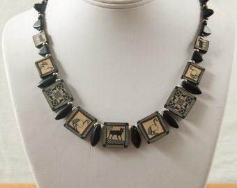 SALE WAS 40 Sophisticated Black Drop Cane Necklace JT