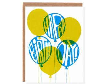 Birthday Balloons -- Screenprinted Birthday Card