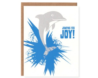 "Dolphin ""Jumping for Joy!"" -- New Baby Screenprinted Card"