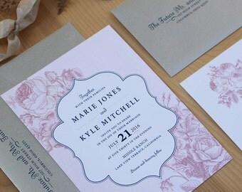 Floral Wedding Invitation, Wedding Invitation Package, Romantic Invitation, Pink and Navy SAMPLE