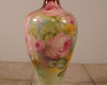 Very lovely old Royal Bayreuth floral hand painted vase