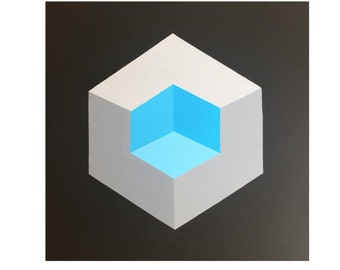 Isometric Op Art Canvas Painting