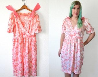 Pink Floral Dress - Light Pink Dress - Pink Summer Dress - Bow Dress