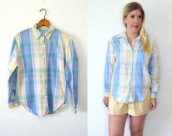 Pink Plaid Shirt - Blue Plaid Shirt - Pastel Grunge Clothing - Plaid Blouse