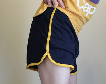 Vintage Large Broderick USA 80s navy blue & yellow gym shorts