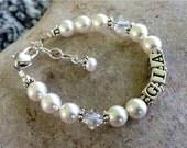 Baptism/Christening Gift Little Girl Name Bracelet -White/Pink Pearl/ Crystal, Flower Girl, Birthday, Baptism, New Baby