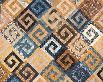 Patchwork Quilt - blue and gold Athena's Puzzle throw