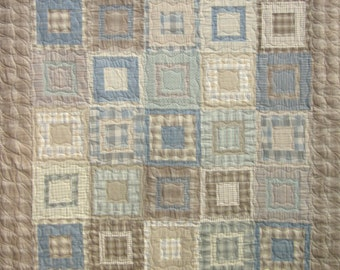 Patchwork Quilt - blue and tan Square Pegs throw