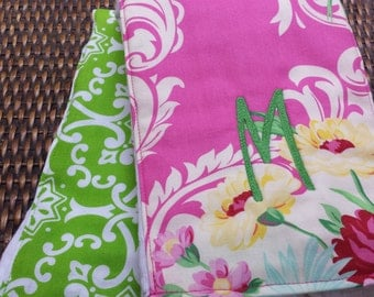 Monogrammed Burp Cloth,  Baby Girl Gift, Newborn Gift Set, Personalized Baby Shower Gift, Diaper Cloth, Pink Floral Green, Set of 2