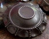 4pc Vintage Brass Medallion 38mm Round 11mm Cabochon Bezel Setting Ornate Hand Oxidized Dark Bronze Patina Arts Craft Jewelry Finding 8P