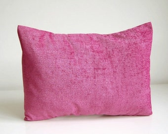 accent decorative pillow cover, rose pink chenille lumbar cushion cover 12 x 16 inch