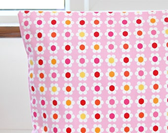 12 inch cushion cover white pink and yellow flower daisies decorative pillow cover