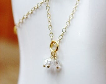 14K GF with Tiny Swarovski Crystals / Simple Necklace / Classic Necklace / Sophisticated / Dainty / Reserved / Sweet / Minimalist / Mini