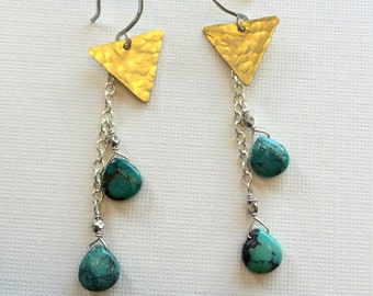 Natural Turquoise and Brass Triangle earrings with sterling silver chain Geometric, Dangle, mixed metal