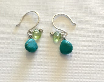 Natural Turquoise and Green Peridot Earrings in Recycled Sterling Silver with Hill tribe silver beads