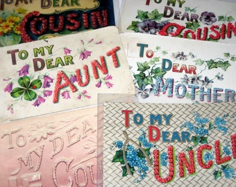 6 Antique Large Big Letter Postcards  - Mother, Cousins, Aunt and Uncle - for Collecting, Altered Art, Scrapbooking, Crafts