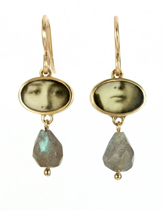 Oval  Photo Faces Earrings with Labradorite