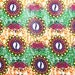 African Fabric 1/2 Yard LIGHTWEIGHT Cotton ORANGE GREEN Fuschia Yellow Abstract Floral