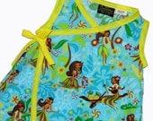 ON SALE Kawaii Clothing- Hawaiian Dress - Toddler Dress - Hula Girl - Yellow Dress - Harajuku Clothing- Wrap Dress - Girl Dress - 2t - 3t