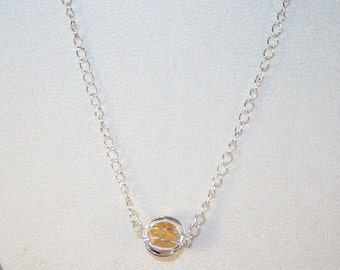 Citrine Chips in Silver Cage Necklace