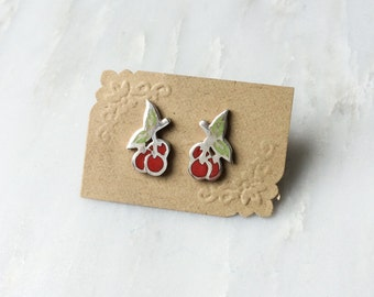 Cherry Earrings in Sterling Silver with Glass Enamel