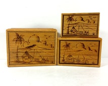 Vintage Trio of Wood Boxes, Matchstick Texture, Tropic Tiki Design on Lids, Nesting, Red Flocked Interiors