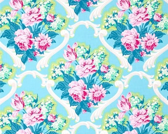 Blue Floral Shower Curtain, Cottage Style Shower Curtain, Shabby Chic, Trellis Shower Curtain, Pink Blue Shower Curtain, Blue Bathroom Decor