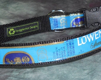 Adjustable Dog Collar from Recycled Lowenbrau Beer Labels