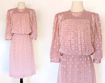 80s Pleated Puff Sleeve Stripe Secretary Dolly Abstract Pattern Dress . SM . D237 . 987.6.11.15