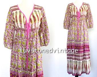 Vintage 80s Indian Empire Boho Hippie Cotton Gauze Gypsy India Festival Midi Dress . SML . D125 . 992.6.11.15