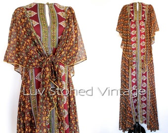 70s Vintage Rare Ayesha Davar London Boho Hippie Empire Goddess India Indian Festival Gypsy Maxi Empire Dress | XS - SM | 1032.7.8.15