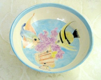Large Serving Bowl with Tropical Fish