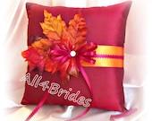 Fall leaves wedding pillow, ring bearer pillow, burgundy and burnt orange Fall wedding ring cushion