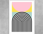 Abstract geometric poster mid century modern art pastel colour print kitchen art nordic scandinavian design office art - Brutal 2 50 x 70cm