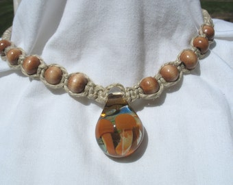 Double Mushroom Hemp Necklace with Wooden Beads