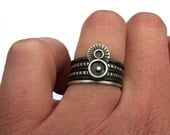 Unique Silver Ring, Sterling Silver Stacking Ring Set, Oxidized Silver Rings, Circles and Stripes, Bohemian Rings, Minimal Rings Size 9