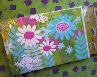 Flower Power Party Invitations 1970's Bright And Pretty Vintage Flowers NOS Unopened Package