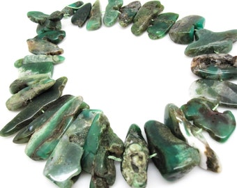 Green Chrysoprase Beads, Chrysoprase Sticks, Free form shape, Australian Chrysoprase, SKU 4651