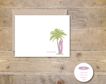 Personalized Stationery, Stationary, Surfboard, Surfboarder, Beach Stationery, Thank You Cards, Thank You Notes, Surfboard Cards, Palm Trees