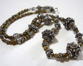Indian silver and brass necklace * every day luxury jewelry * sterling silver and brass necklace