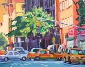 New York Art NYC Painting NYC Art Print  8x10, Taxi Cabs New York City Painting by Gwen Meyerson