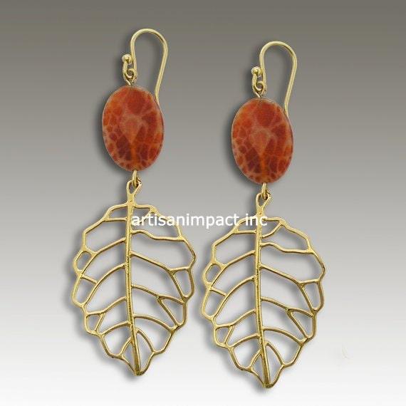 14k gold earrings, chandelier earrings, leaf earrings, fire agate earrings, yellow gold earrings, long gold leaves - Spanish Hollow EG2165