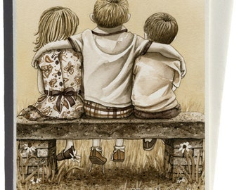 Brothers and Sister Greeting Card by Tracy Lizotte