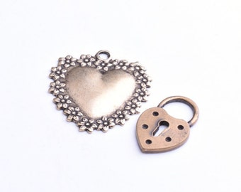 Heart and a Heart with a key hole, 3pc each
