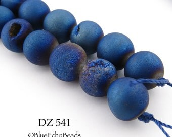 12mm Blue Druzy Agate Geode Beads Matte Blue Purple Blue Berry (DZ 541) 12 pcs BlueEchoBeads