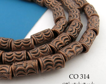10mm Large Hole Copper Tube Beads with Half Moon Pattern 10mm x 6mm  Full Strand (CO 314) 20 pcs BlueEchoBeads