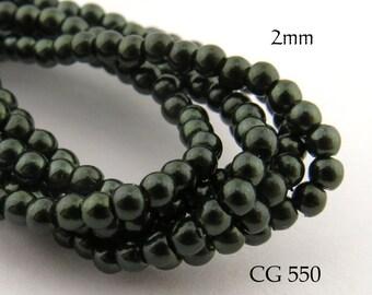 Tiny 2mm Czech Glass Pearls Deep Forest Green Round (CG 550) 50pcs BlueEchoBeads